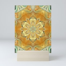 Flower Of Life Mandala (Golden Touch) Mini Art Print