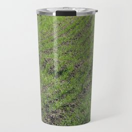 Tractor plowed field and arable land Travel Mug