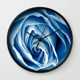 Blue Rose Macro Wall Clock