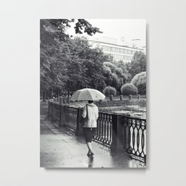 Woman And Umbrella Metal Print