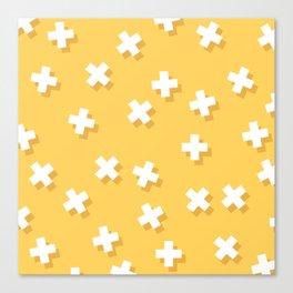 Modern Swiss Cross Yellow Canvas Print