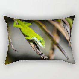 Green Carolina Anole Aloft Rectangular Pillow