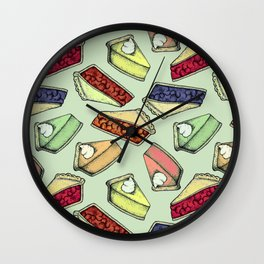 Easy As Pie - cute hand drawn illustrations of pie on sage green Wall Clock