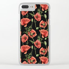 Poppy: lady in red Clear iPhone Case
