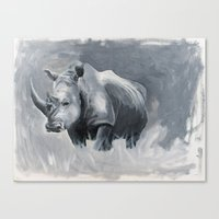 rhino Canvas Prints featuring Rhino by Jacey's Creations