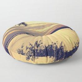 Golden Mississippi River Sunset Floor Pillow