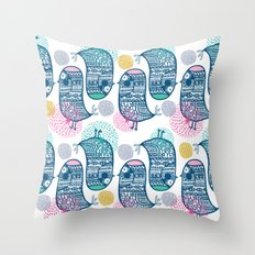 KISSING BIRDS Throw Pillow