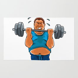 fat overweight man with dumbbell Rug