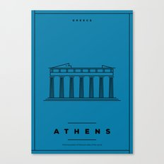 Minimal Athens City Poster Canvas Print