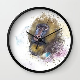 mandrill monkey portrait, tropical primate with a colorful face, watercolor digital painting Wall Clock