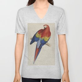 Vintage Illustration of a Macaw Parrot (1832) Unisex V-Neck