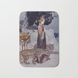 """""""Circe With Leopards"""" by Edmund Dulac Bath Mat"""