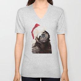 Christmas Sloth Unisex V-Neck