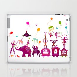 colorful circus carnival traveling in one row on white background Laptop & iPad Skin