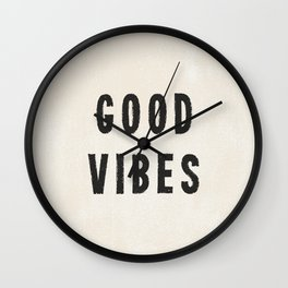 Distressed Ink Effect Good Vibes | Black on Off White Wall Clock
