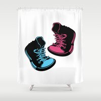 sneakers Shower Curtains featuring Sneakers by Cindys