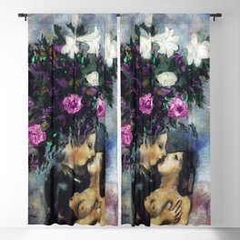 Lovers Under Calla Lilies & Flowers floral portrait painting by Marc Chagall Blackout Curtain
