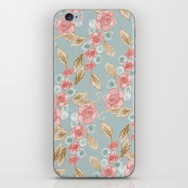 Floral Patterns x Dusty Blue iPhone Skin