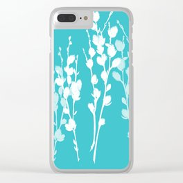 Pussywillow Sprig Silhouettes — Aqua + White Clear iPhone Case