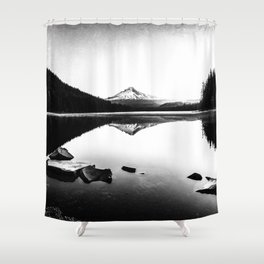 Fantastic Morning - Mount Hood Reflection Black and White Shower Curtain