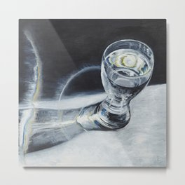 Glass of the water in the light Metal Print
