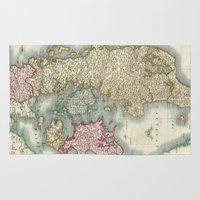 denmark Area & Throw Rugs featuring Vintage Map of Denmark (1801)  by BravuraMedia