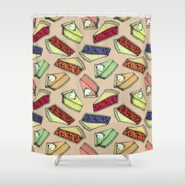 Easy As Pie - cute hand drawn illustrations of pie on neutral tan Shower Curtain