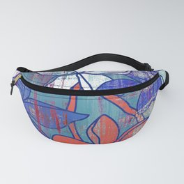 Red and blue floral print Fanny Pack