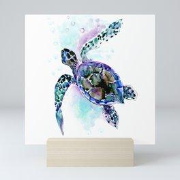Sea Turtle Underwater Scene Artwork, turquoise blue, gray design beach Mini Art Print