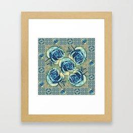 Blue Rose Garden Quilt Square Framed Art Print