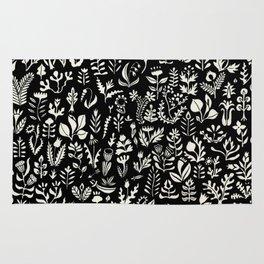 Black and white botanical pattern Rug