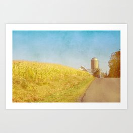 Golden Yellow Cornfield and Barn with Blue Sky Art Print
