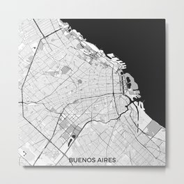 Buenos Aires City Map Gray Metal Print