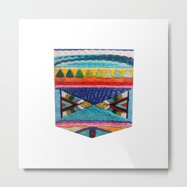 Rainbow Tribal Embroidery Metal Print