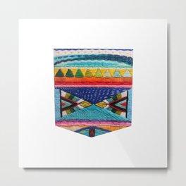 Rainbow Tribal Embroidery Metal Print