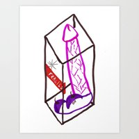 penis Art Prints featuring Fragile (Penis in a Box) by FABIO MIGGIANO_H13