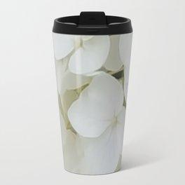 Hydrangea Flowers White Blossom Floral Photograph Travel Mug
