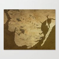 westeros Canvas Prints featuring Fantasy Map of Brooklyn: Brown Parchment by Midgard Maps