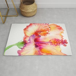 Bright Hibiscus Floral Water color Rug
