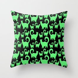 Green Snobby Cats Throw Pillow