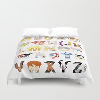 90s Duvet Covers featuring Child of the 90s Alphabet by Mike Boon