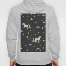Unicorn Seamless Pattern. Rainbows, stars and drops of rain Hoody