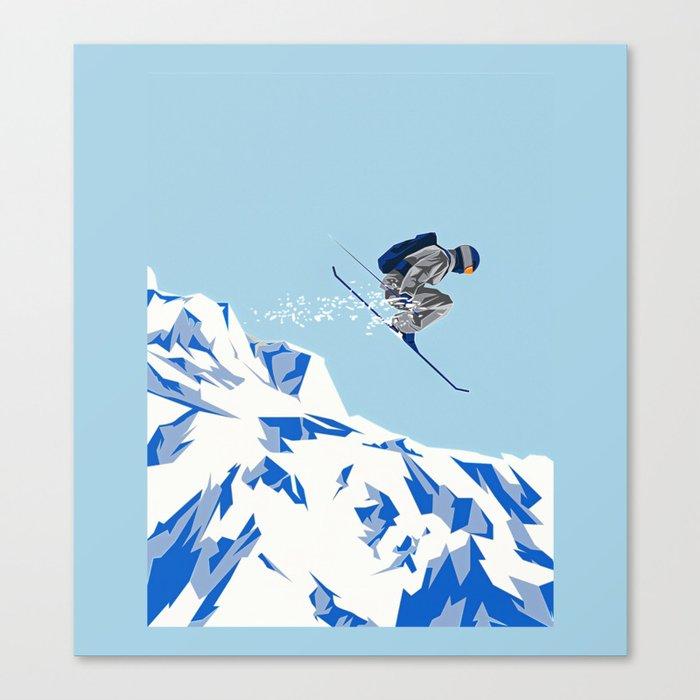 Airborn Skier Flying Down the Ski Slopes Leinwanddruck