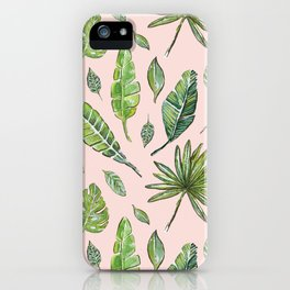 Tropical leaves group in Rose Island - pattern_collection iPhone Case