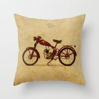 ducati Throw Pillows featuring Ducati 60 1950 by Larsson Stevensem