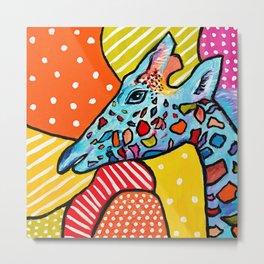 Colorful Giraffe Metal Print