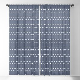 Zoe Painted Dot Striped Pattern in Nautical Navy Blue and White Sheer Curtain