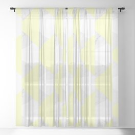 Yellow White Marble Triangles Sheer Curtain