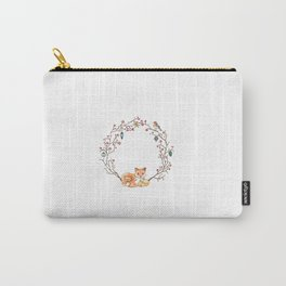 Fox Family Holiday Wreath Carry-All Pouch
