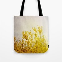 coldplay Tote Bags featuring And it Was All Yellow by Olivia Joy StClaire